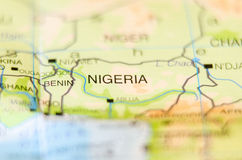 Nigeria country on map Stock Photography
