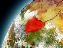 Nigeria de la órbita de Earth modelo Imagen de archivo libre de regalías