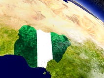 Nigeria with embedded flag on Earth Royalty Free Stock Image