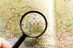 Nigeria en el mapa del mundo foto de archivo