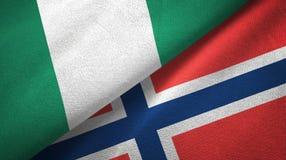 Nigeria en Noorwegen twee vlaggen textieldoek, stoffentextuur stock illustratie