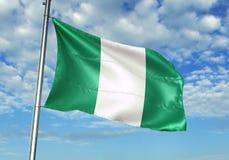 Nigeria fahnenschwenkend mit Himmel auf realistischer Illustration 3d des Hintergrundes lizenzfreie abbildung