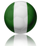 Nigeria flag ball. Texture of Nigeria flag on glossy soccer ball Stock Photography