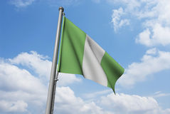 Nigeria Flag with Clouds Royalty Free Stock Images