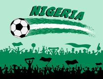 Nigeria flag colors with soccer ball and Nigerian supporters sil. Houettes. All the objects, brush strokes and silhouettes are in different layers and the text Stock Image