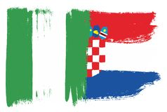 Nigeria Flag & Croatia Flag Vector Hand Painted with Rounded Brush. This image is a vector illustration and can be scaled to any size without loss of resolution Royalty Free Stock Photos