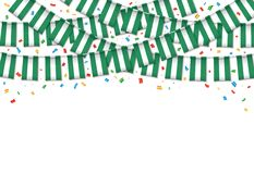 Nigeria flag garland white background with confetti. Hang bunting for Nigerian independence Day celebration template banner, Vector illustration Royalty Free Stock Photo