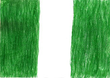 Nigeria flag pencil drawing illustration kid style photo Royalty Free Stock Images