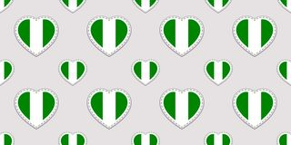 Nigeria flag seamless pattern. Nigerian national flags stikers. Vector love hearts symbols. Background for sports pages, travel, g stock illustration