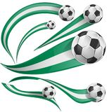 Nigeria flag set with soccer ball. Isolatet on white Stock Photography