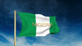 Nigeria flag slider style with title. Waving in vector illustration