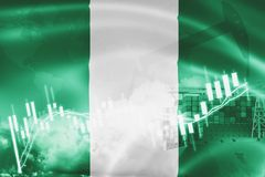 Nigeria flag, stock market, exchange economy and Trade, oil production, container ship in export and import business and logistics. Africa, african, background stock illustration