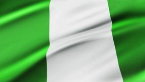 Nigeria Flag Waving in Wind Slow Motion Animation . 4K Realistic Fabric Texture Flag Smooth Blowing on a windy day royalty free illustration