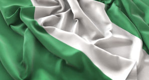 Nigeria-Flagge gekräuselter schön wellenartig bewegender Makronahaufnahme-Schuss lizenzfreies stockbild