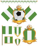 Nigeria flags. Set of nigeria football supporter flags and emblems, isolated on white Stock Images