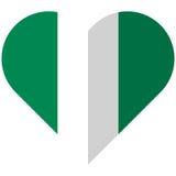 Nigeria flat heart flag Stock Photography