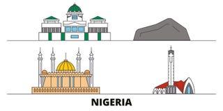 Nigeria flat landmarks vector illustration. Nigeria line city with famous travel sights, skyline, design. Nigeria flat landmarks vector illustration. Nigeria vector illustration