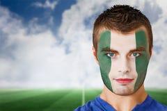 Nigeria-Fußballfan in der Gesichtsfarbe stockfotos