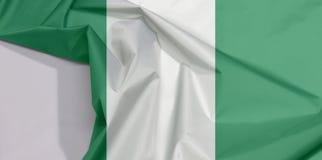Nigeria-Gewebeflaggenkrepp und -falte mit Leerraum vektor abbildung
