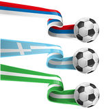 Nigeria , greek and russian flag. With soccer ball Royalty Free Stock Image