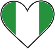 NIgeria Heart Flag Stock Image