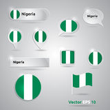 Nigeria icon set of flags Royalty Free Stock Image