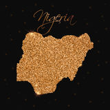 Nigeria map filled with golden glitter. Stock Image