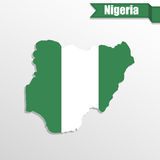 Nigeria map with flag inside and ribbon Stock Photo