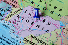 Nigeria map. Macro shot of nigeria map with push pin royalty free stock images