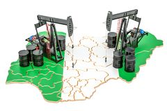 Nigeria map with oil barrels and pumpjacks. Oil production concept. 3D rendering. Nigeria map with oil barrels and pumpjacks. Oil production concept royalty free illustration