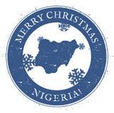 Nigeria map. Vintage Merry Christmas Nigeria. Stock Images