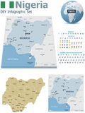 Nigeria maps with markers Royalty Free Stock Photography