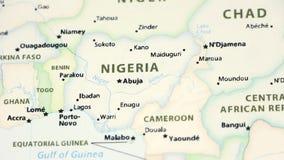 Nigeria na mapie z defocus
