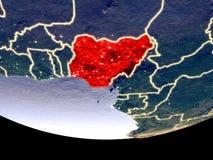 Nigeria nachts vom Raum lizenzfreie stockfotografie
