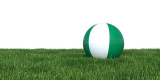 Nigeria Nigerian flag soccer ball lying in grass Stock Images