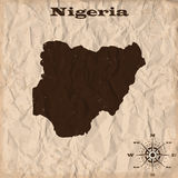 Nigeria old map with grunge and crumpled paper. Vector illustration Royalty Free Stock Photography