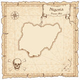 Nigeria old pirate map. Sepia engraved template of treasure map. Stylized pirate map on vintage paper Stock Photos