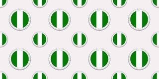 Nigeria round flagi bezszwowy wzór Nigeryjski tło Wektorowe okr?g ikony Geometryczni symbole Tekstura dla sport?w ilustracji