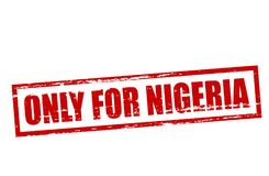 Only for Nigeria. Rubber stamp with text only for Nigeria inside,  illustration Royalty Free Stock Photos
