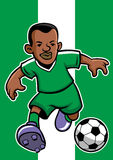 Nigeria soccer player with flag background Royalty Free Stock Images