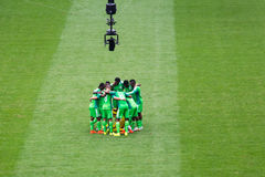 Nigeria Team at FIFA World Cup Brazil 2014 filmed. The Nigeria team in the soccer match against France team in the World Cup at Brazil stock images