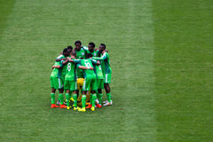 Nigeria Team at FIFA World Cup Brazil 2014. The Nigeria team in the soccer match against France team in the World Cup at Brazil royalty free stock images