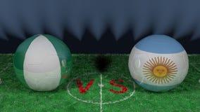 Nigeria versus Argentina. 2018 FIFA World Cup.Original 3D image. June 26, Nigeria vs Argentina 2018 FIFA World Cup.Original 3D image. Two balloons above a Royalty Free Stock Photo
