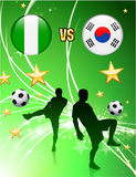 Nigeria versus South Korea on Abstract Green Stars Background Stock Image