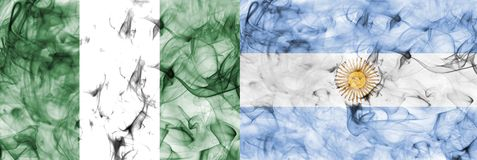 Nigeria vs Argentina smoke flag. Isolated on a white background Stock Photography