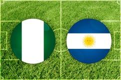 Nigeria vs den Argentina fotbollsmatchen royaltyfri illustrationer