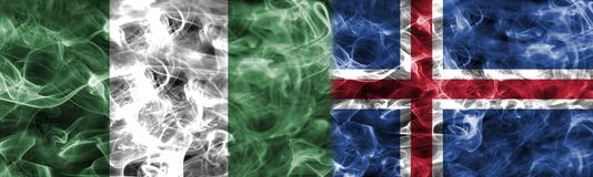 Nigeria vs Iceland smoke flag, group D, Fifa football world cup. 2018, Moscow, Russia Stock Photo