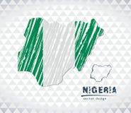 Nigeria wektorowa mapa z flaga inside odizolowywającym na białym tle Nakreślenie kredy ręka rysująca ilustracja ilustracji