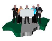 Nigerian Business Team On Map Flag Stock Photos