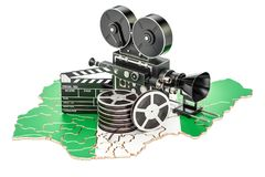 Nigerian cinematography, film industry concept. 3D rendering. Isolated on white background Stock Photo